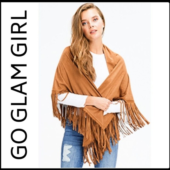 Glam Girl Fashion Sweaters - NWT Faux Suede Fringed Poncho Wrap